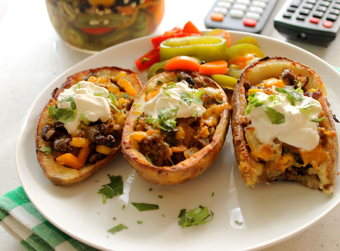 Taco-Stuffed Potato Skins - Robust Recipes