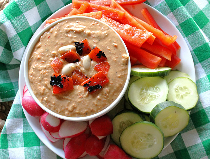Roasted red pepper white bean hummus robust recipes for Roasted red pepper hummus recipes