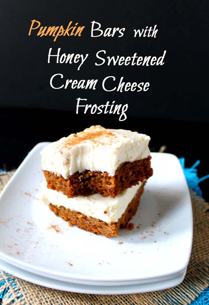 Pumpkin Bars with Honey Sweetened Cream Cheese Frosting (GF) - Robust ...