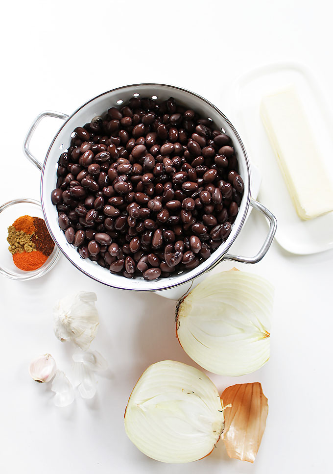 Ingredients for Refried Black Beans