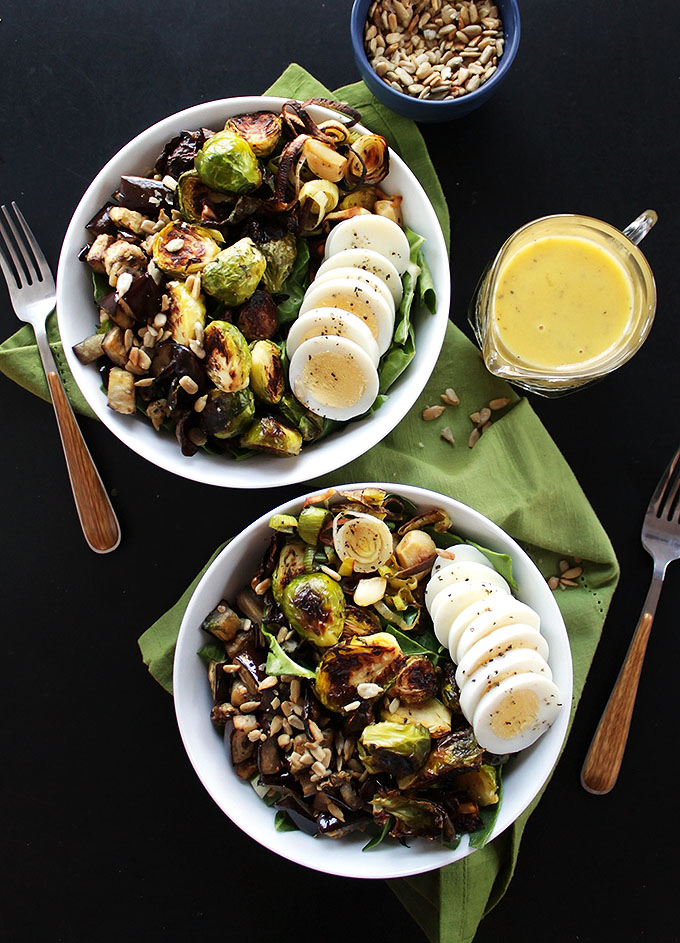 Brussels Sprouts Eggplant Buddha Bowl - Robust Recipes