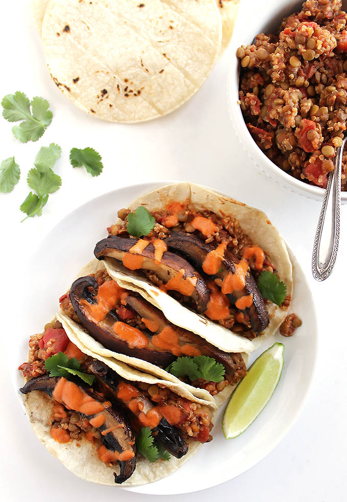 Lentil Mushroom Tacos with Creamy Chipotle Sauce - Robust Recipes